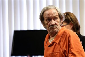 In this photo taken Tuesday, Jan. 19, 2016, Jimmy Leon Trasher, 75, of Texas Township, appears in court in Kalamazoo, Mich. Thrasher, accused of fatally shooting his ex-wife at their western Michigan home in May 2015, pleaded no contest to second-degree murder and felony firearm use. Sentencing is scheduled for Feb. 16. (Chelsea Purgahn/Kalamazoo Gazette-MLive Media Group via AP) LOCAL TELEVISION OUT; LOCAL RADIO OUT; MANDATORY CREDIT